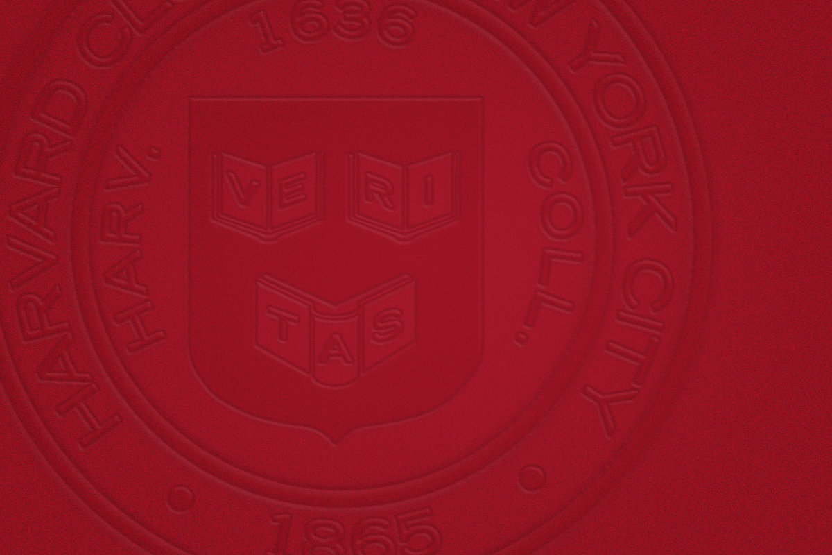 solid crimson background with the harvard club logo embossed